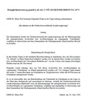 Dringlichkeitsantrag Schulzheim